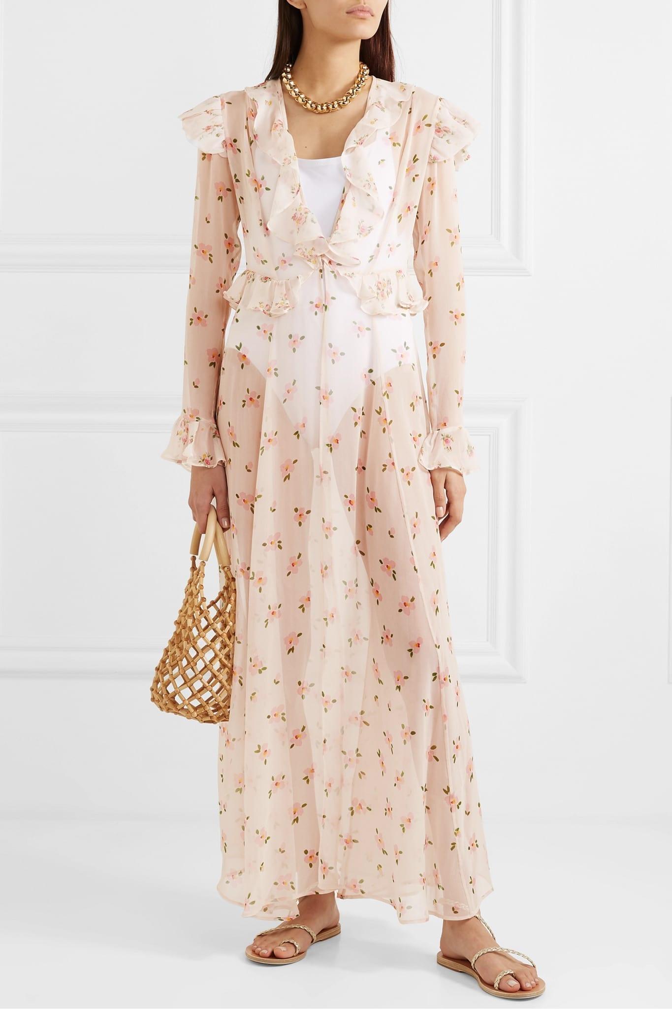 WE ARE LEONE Marlowe Ruffled Floral-print Silk-chiffon Robe Dress