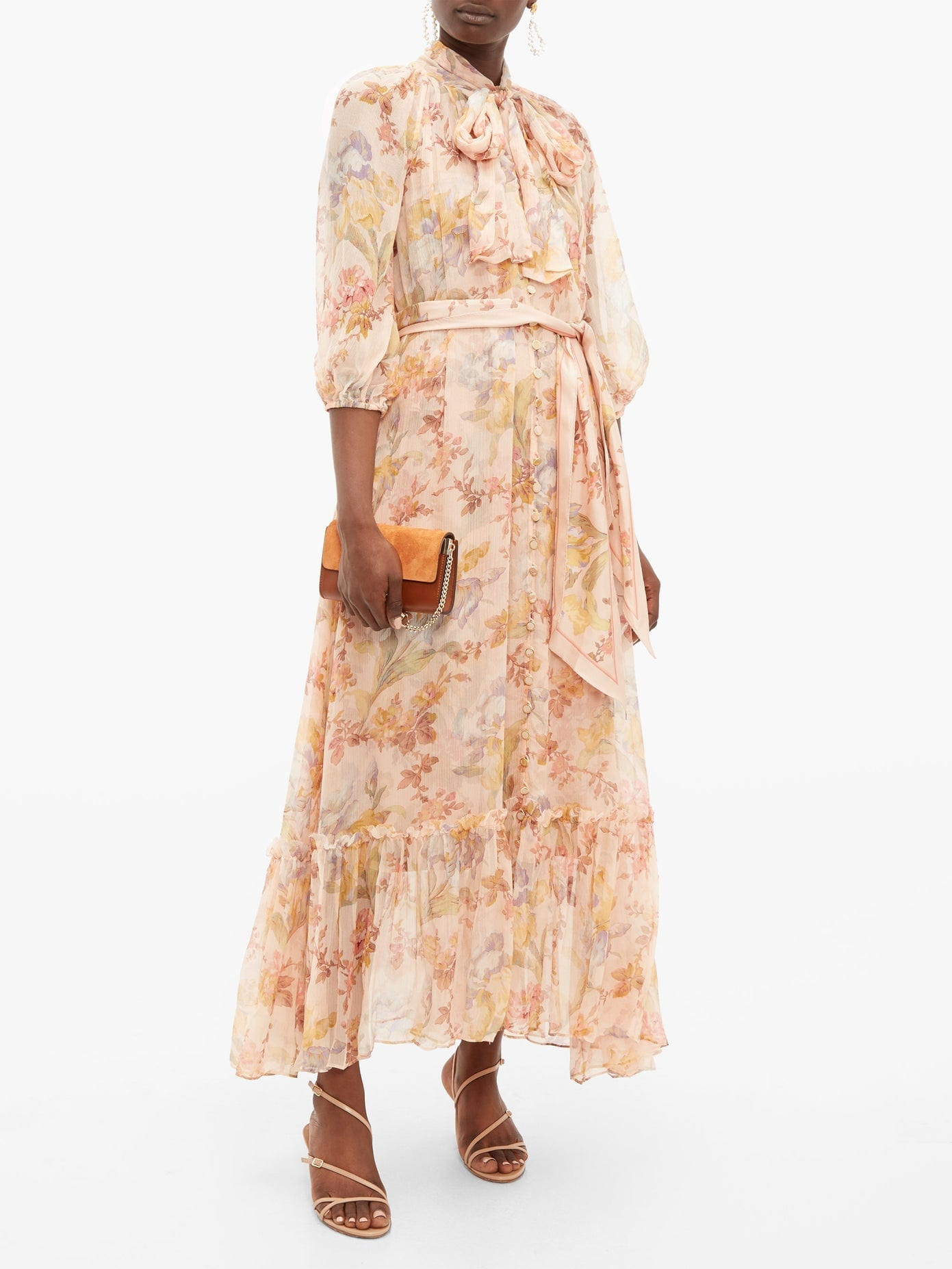 ZIMMERMANN Espionage Floral-print Pussy-bow Silk Dress