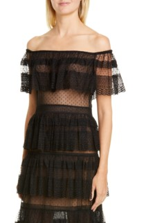 ZUHAIR MURAD Off the Shoulder Tiered Gown