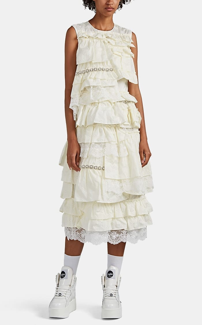 4 MONCLER SIMONE ROCHA Embellished Tiered Midi-Dress