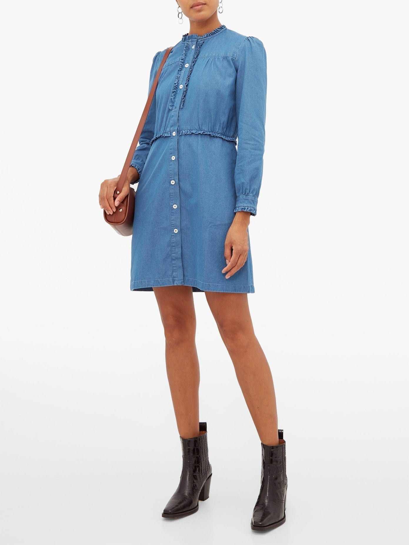 A.P.C. Hoshi Ruffled Chambray Mini Dress