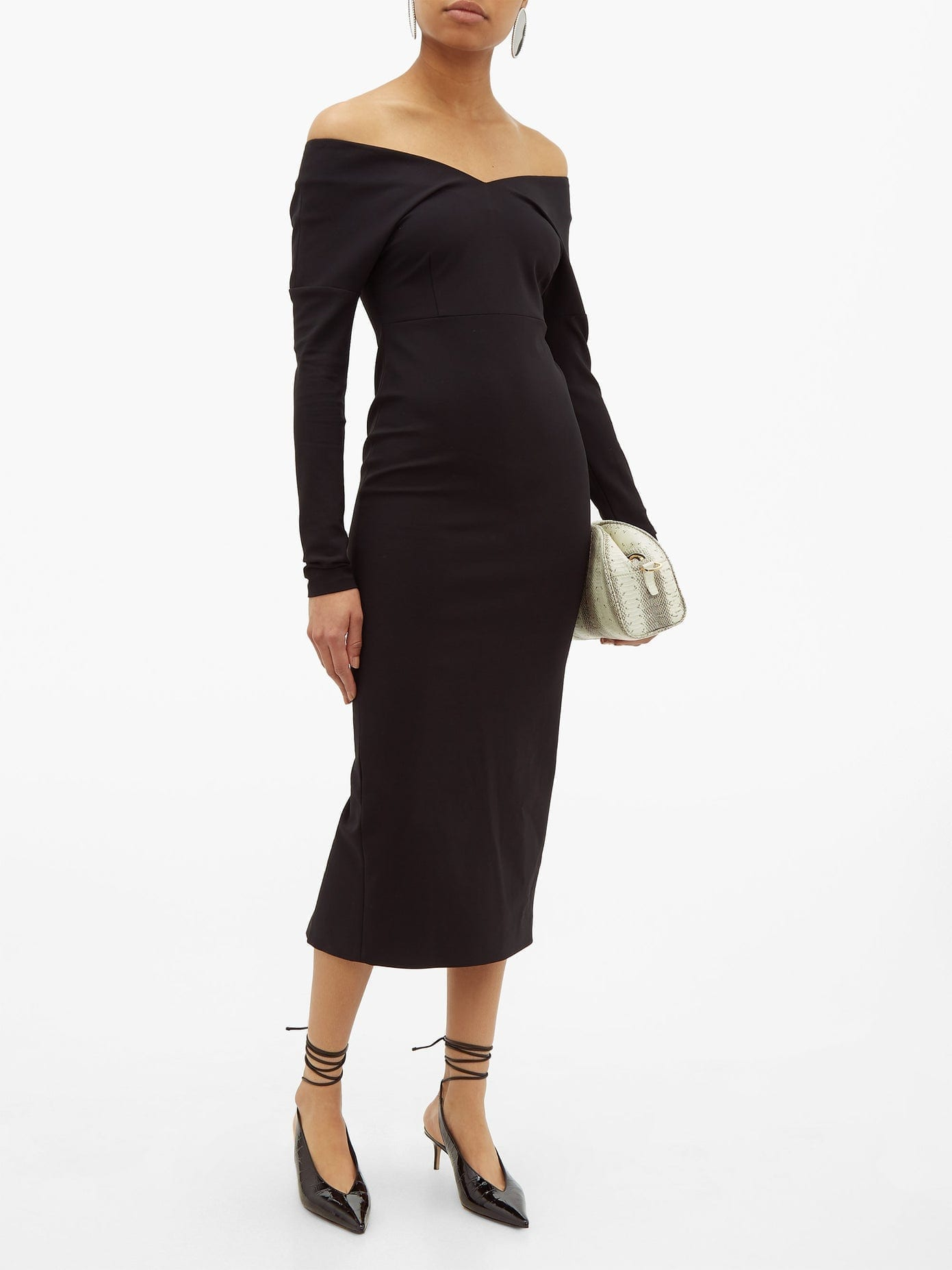 A.W.A.K.E. MODE Non Monroe Off-the-shoulder Cady Dress