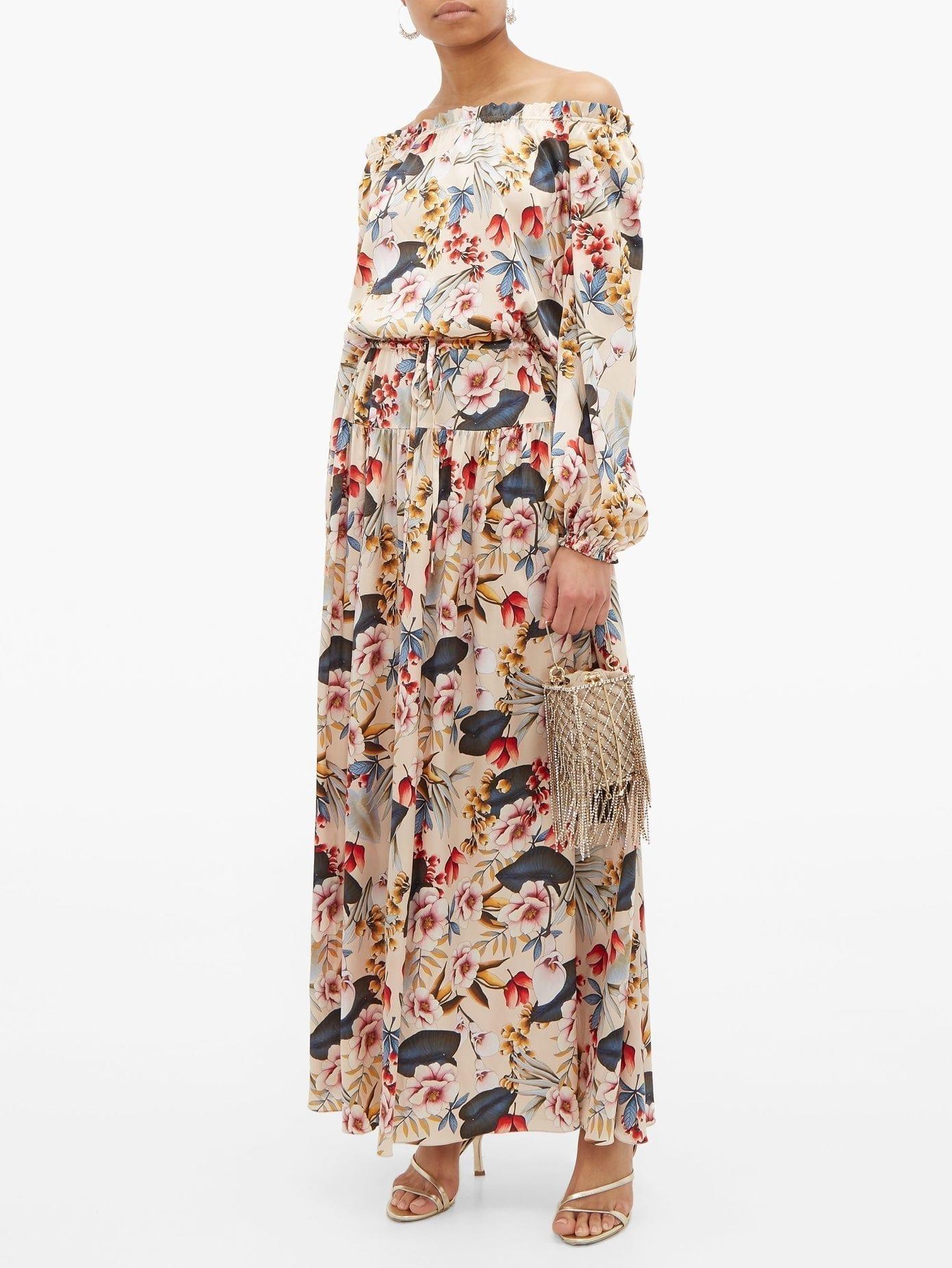 ADRIANA IGLESIAS Creek Floral-print Silk-satin Dress
