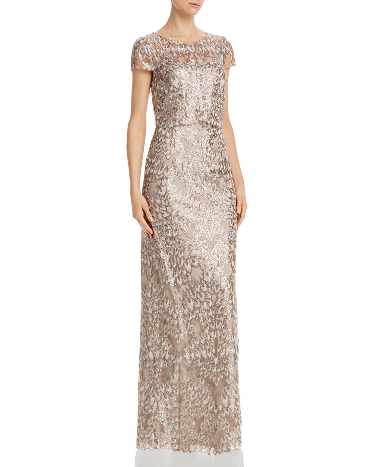 ADRIANNA PAPELL Sequin-Embroidered Gown