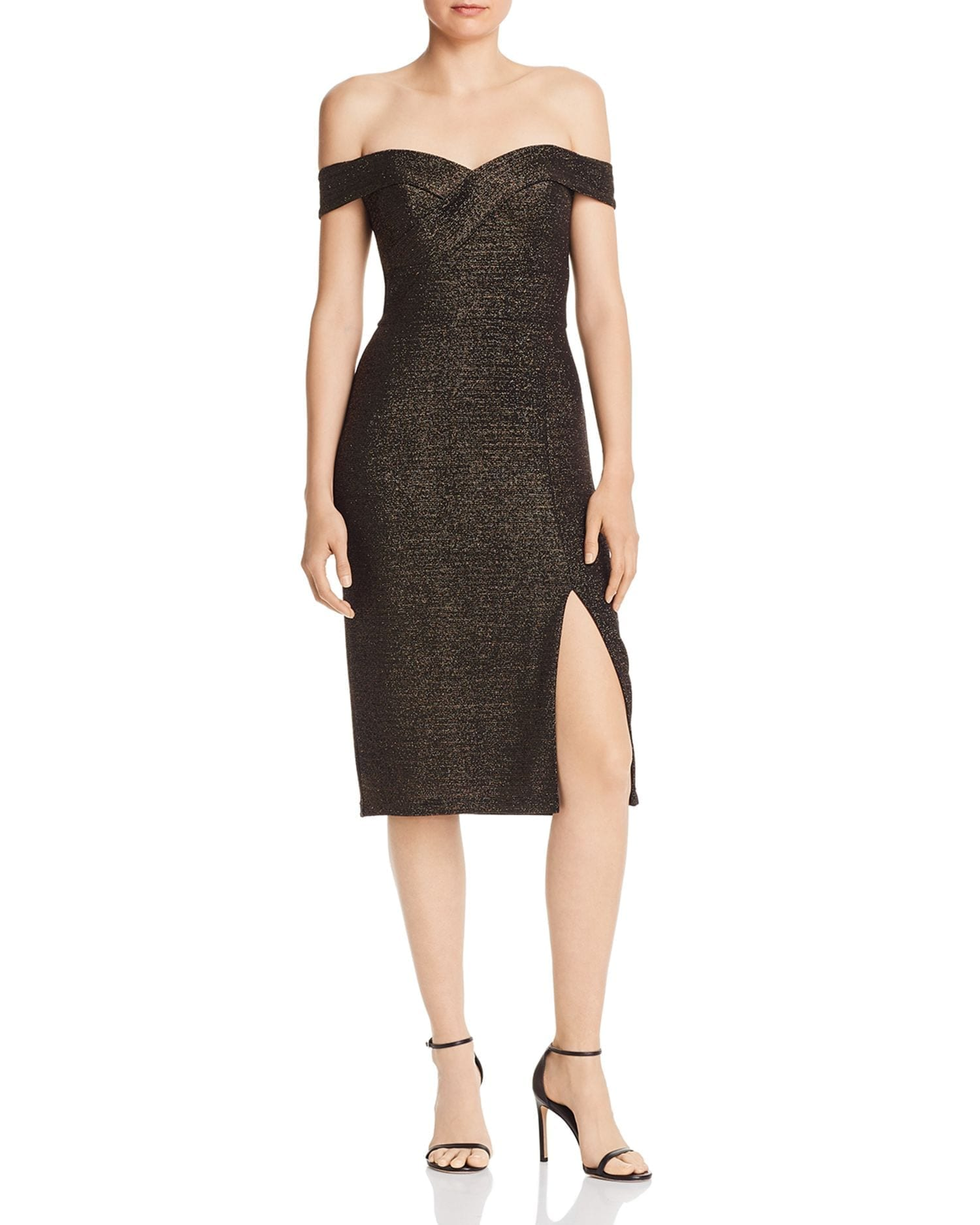 AIDAN BY AIDAN MATTOX Metallic Knit Cocktail Dress