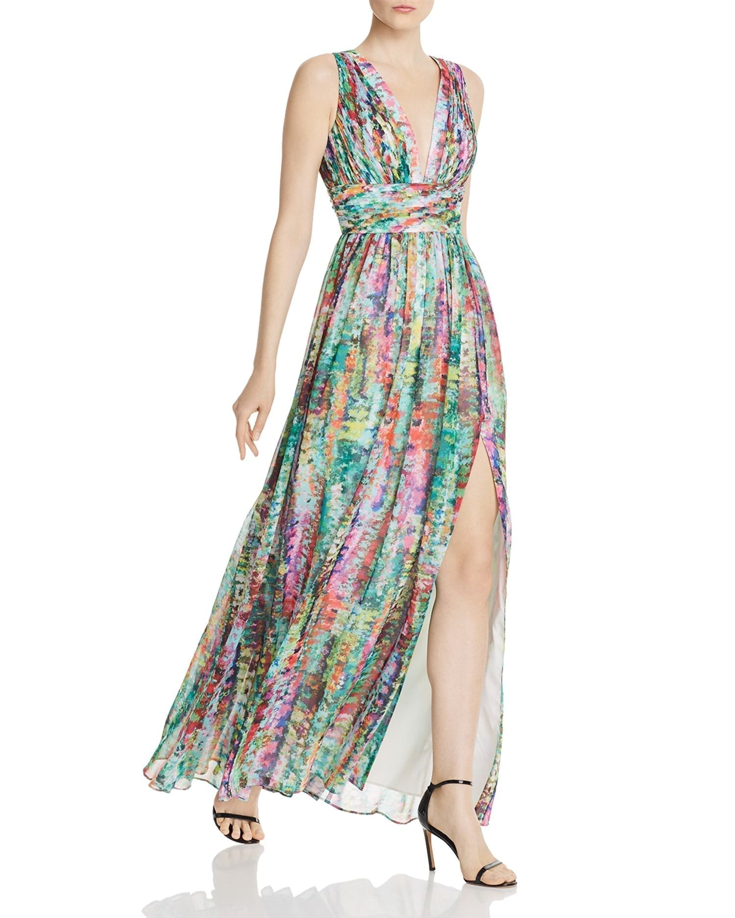 AIDAN BY AIDAN MATTOX Pleated Chiffon Print Dress