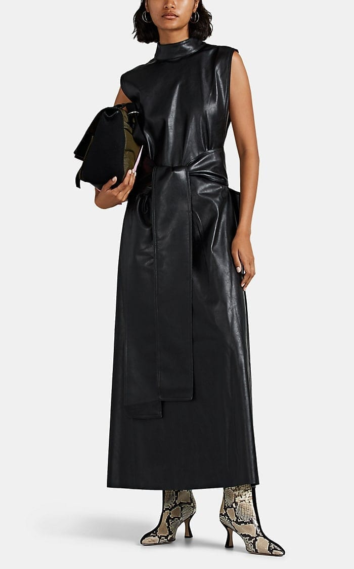 AKIRA NAKA Open-Side Faux-Leather Belted Dress