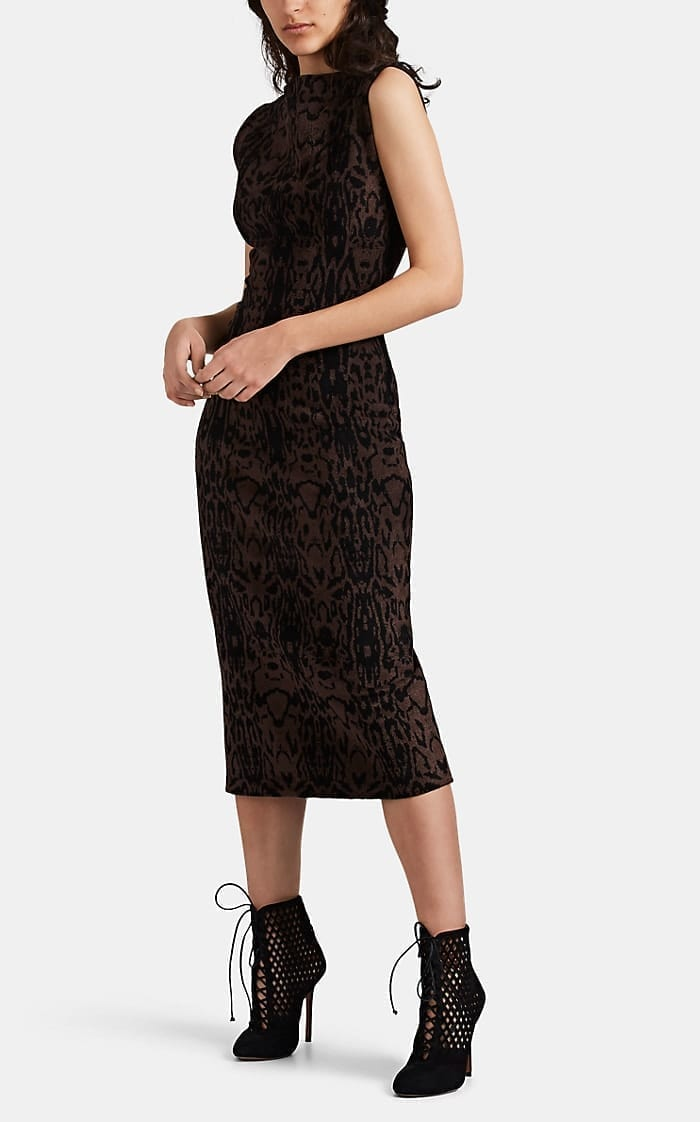 ALAÏA Leopard-Pattern Velvet Dress