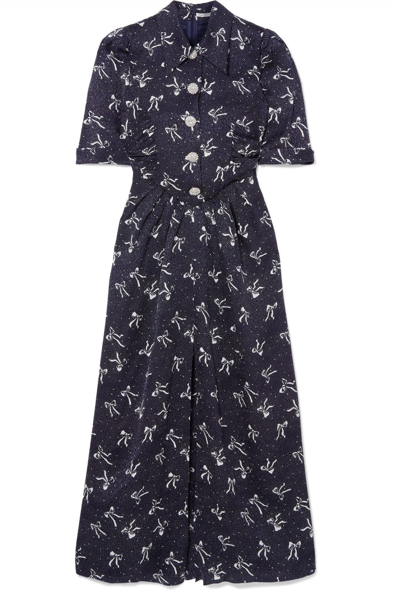 ALESSANDRA RICH Button-embellished Printed Silk-jacquard Maxi Dress