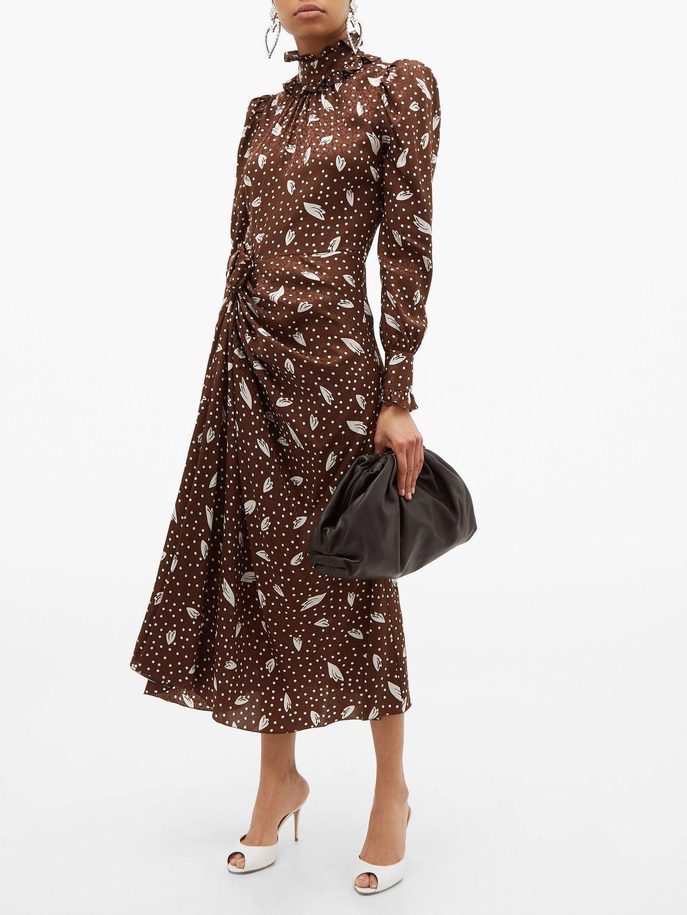 ALESSANDRA RICH High-neck Printed-jacquard Silk Dress