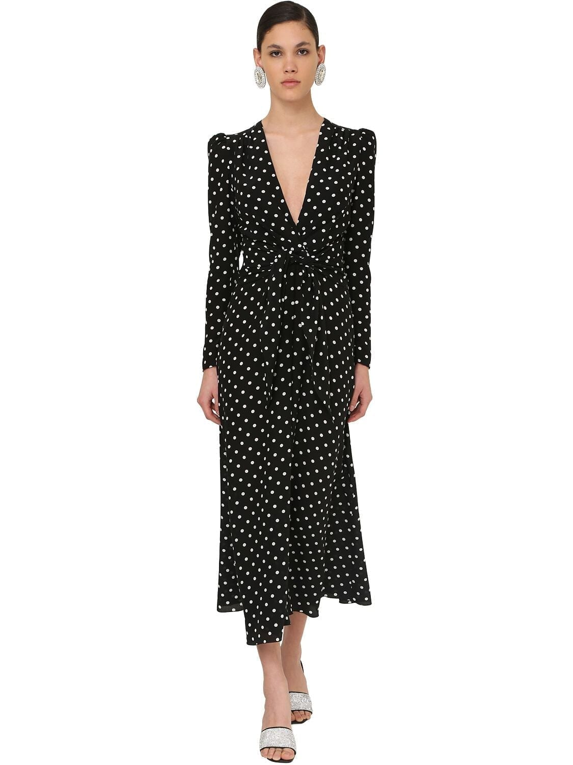 ALESSANDRA RICH Polka Dot Crepe De Chine Midi Dress