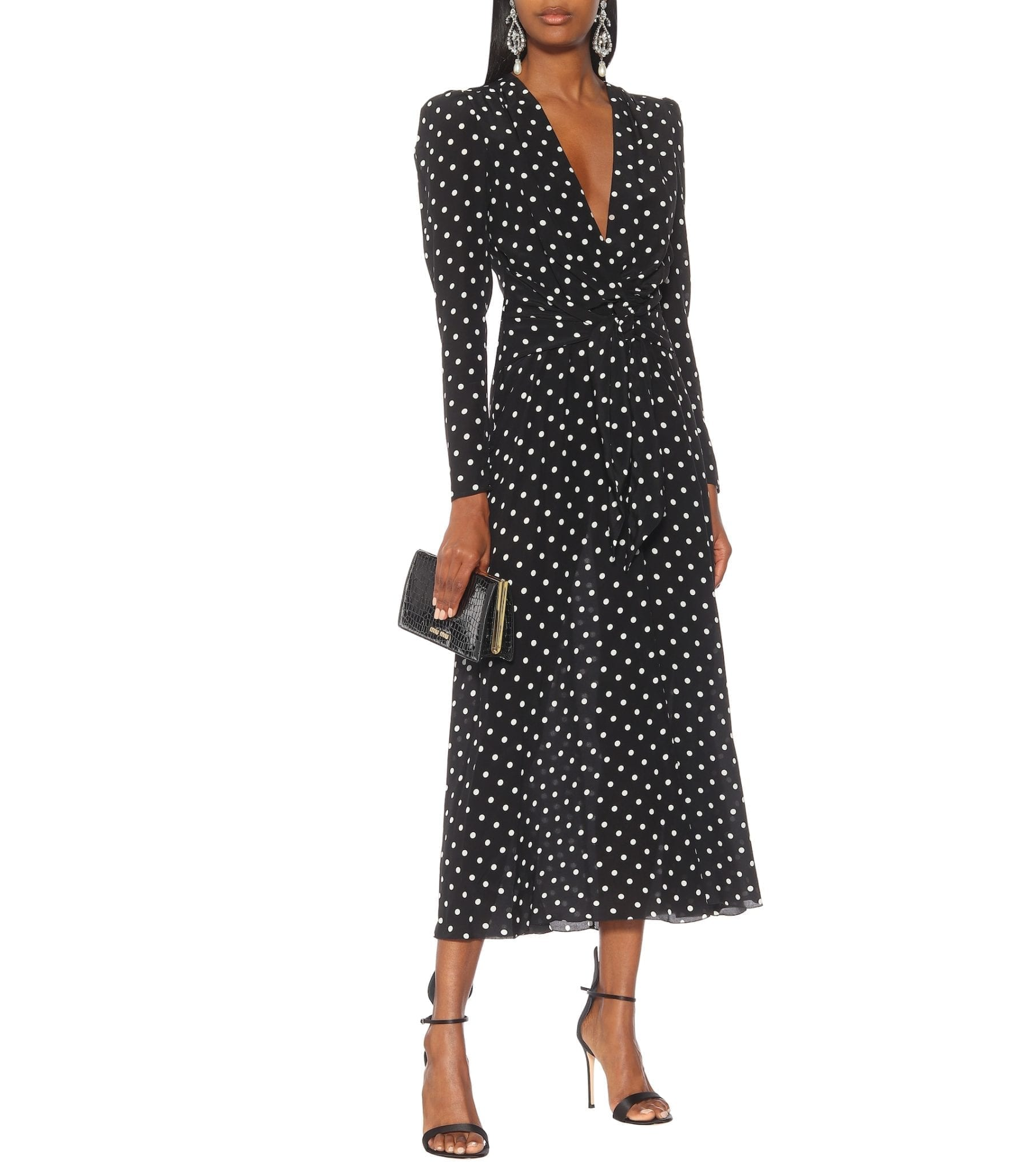 ALESSANDRA RICH Polka-dot Silk Crêpe Dress
