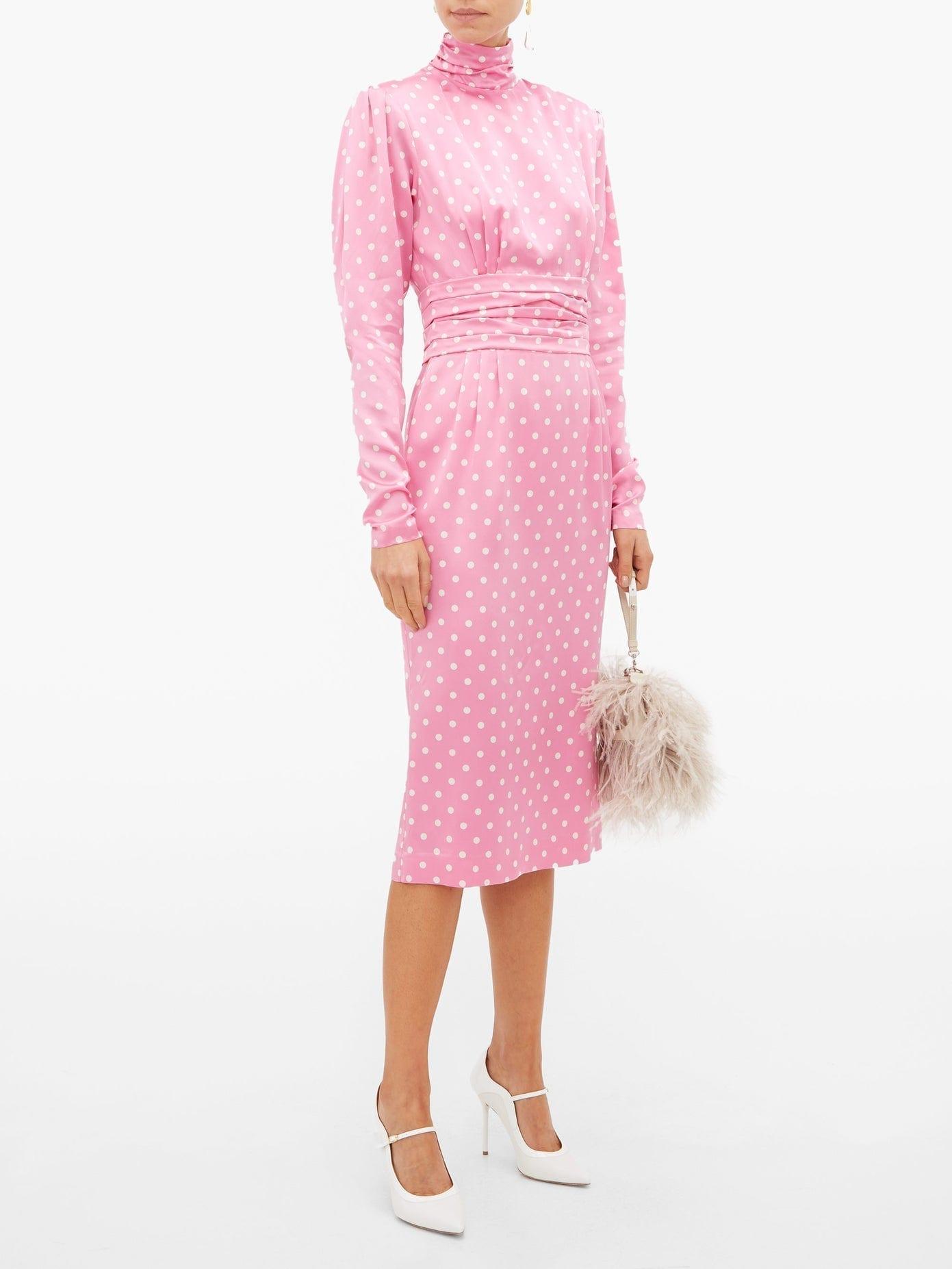 ALESSANDRA RICH Polka-dot Silk Midi Dress