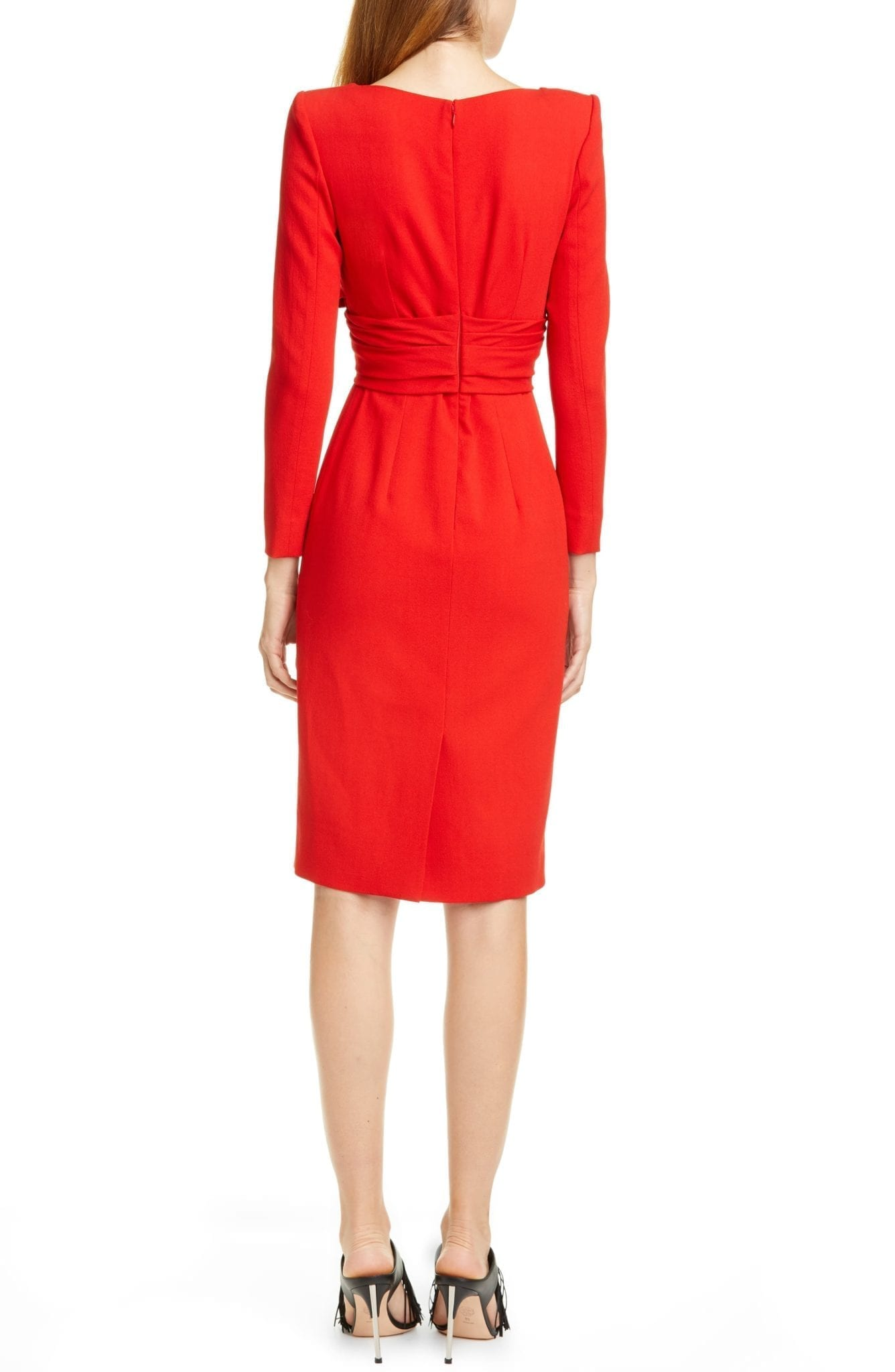 ALEXANDER MCQUEEN Long Sleeve Stretch Wool Crepe Wrap Front Dress