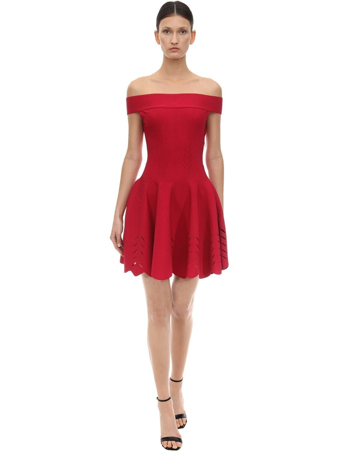 ALEXANDER MCQUEEN Off Shoulder Flared Viscose Knit Dress