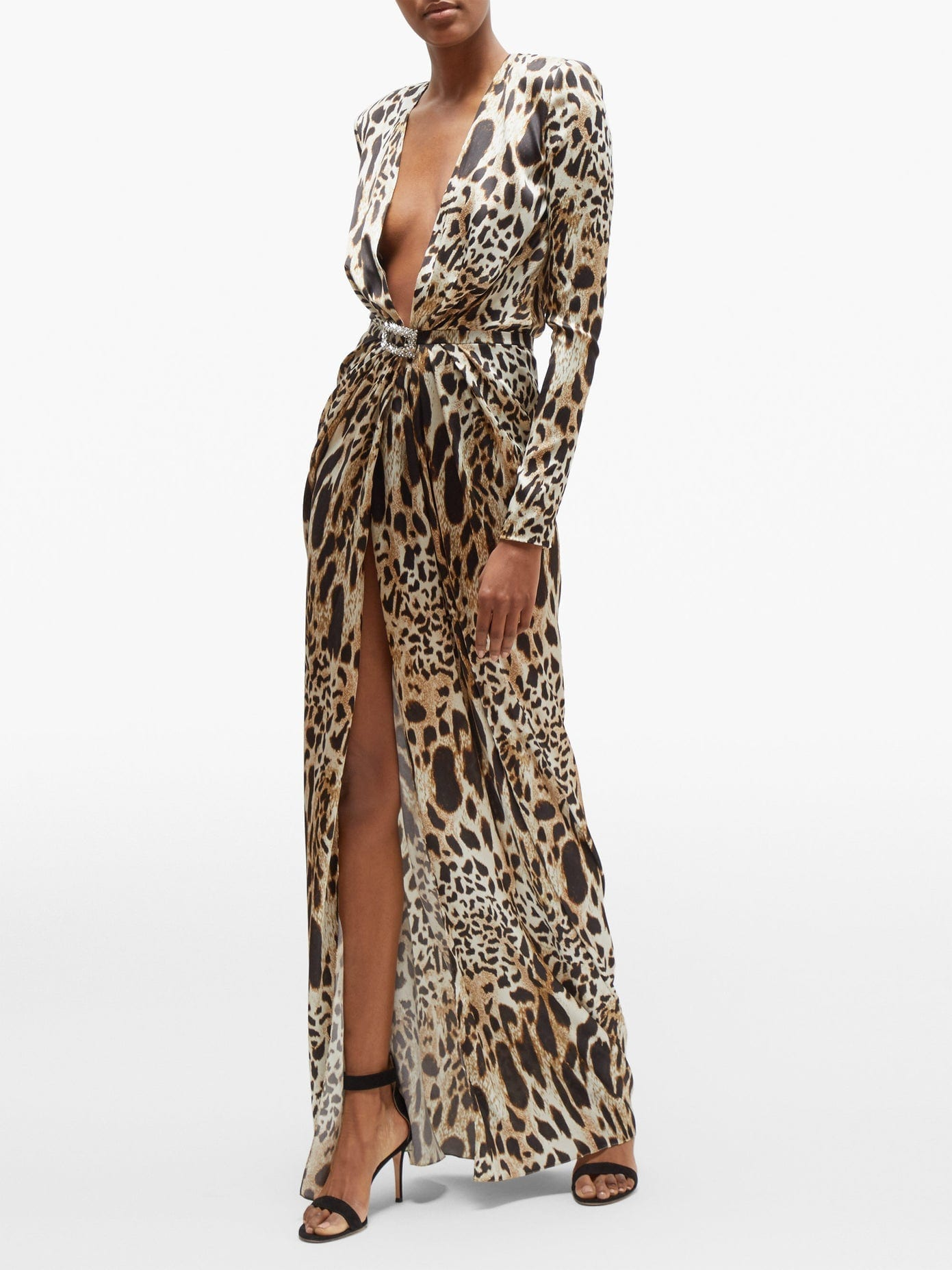 ALEXANDRE VAUTHIER Crystal-Embellished Lynx-Print Satin Gown