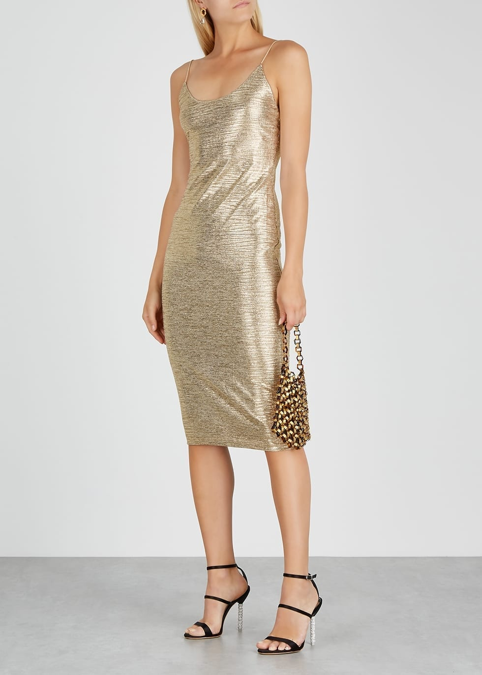ALICE + OLIVIA Delora Gold Knitted Dress