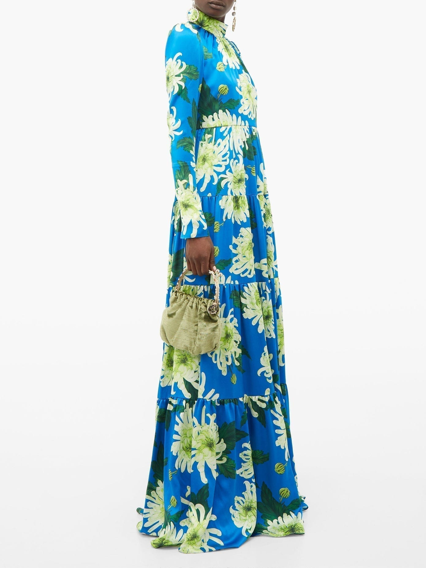 ANDREW GN Chrysanthemum-print Silk Gown