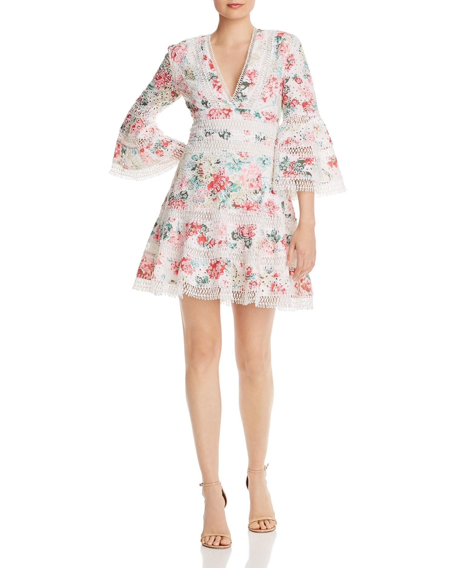 AQUA Floral Eyelet & Lace Dress