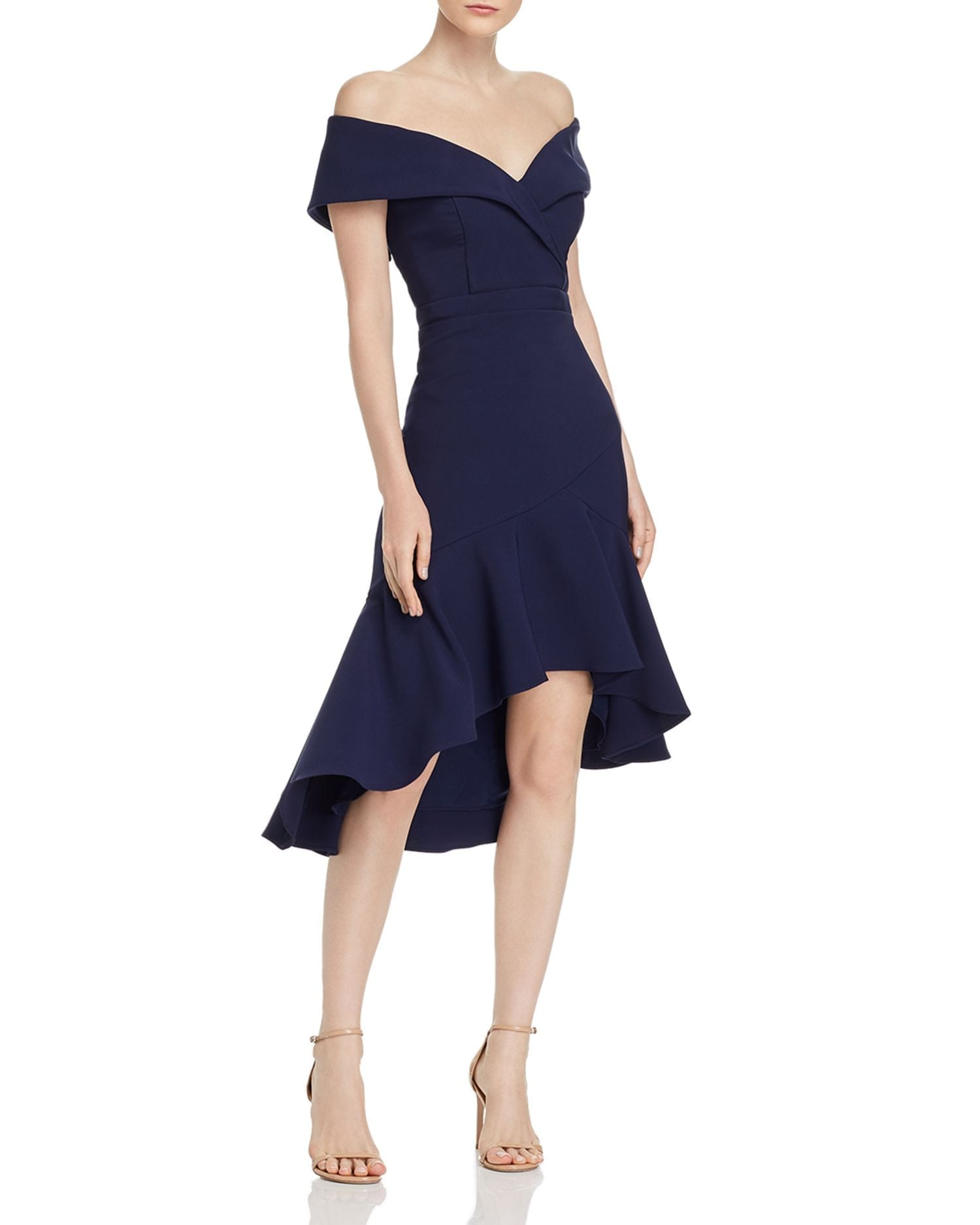 AQUA Off-the-Shoulder Crepe Midi Dress