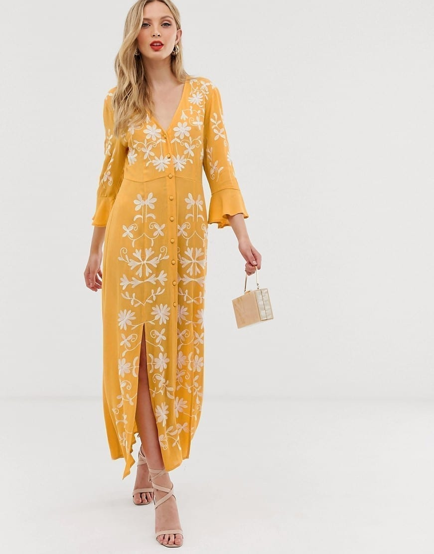 ASOS DESIGN Embroidered Casual Maxi Dress