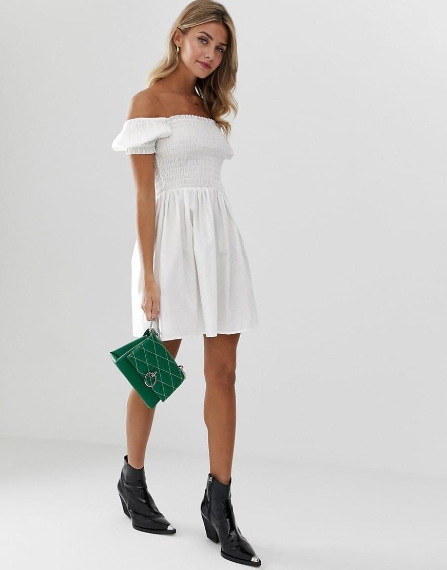 ASOS DESIGN Shirred Bodice Square Neck Cotton Mini Smock Dress