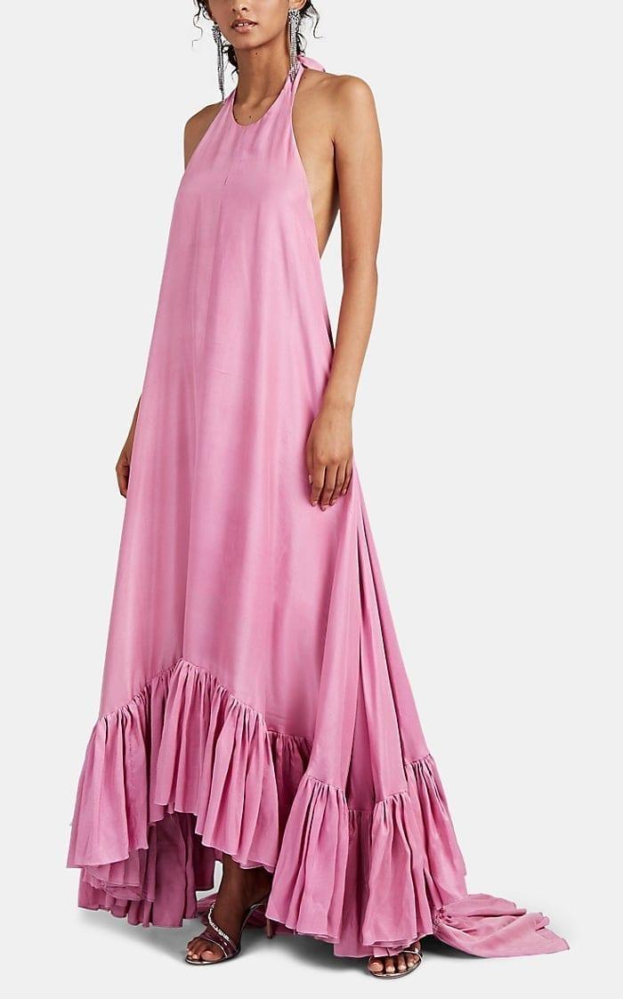 AZEEZA Sadie Silk Ruffle-Hem Gown
