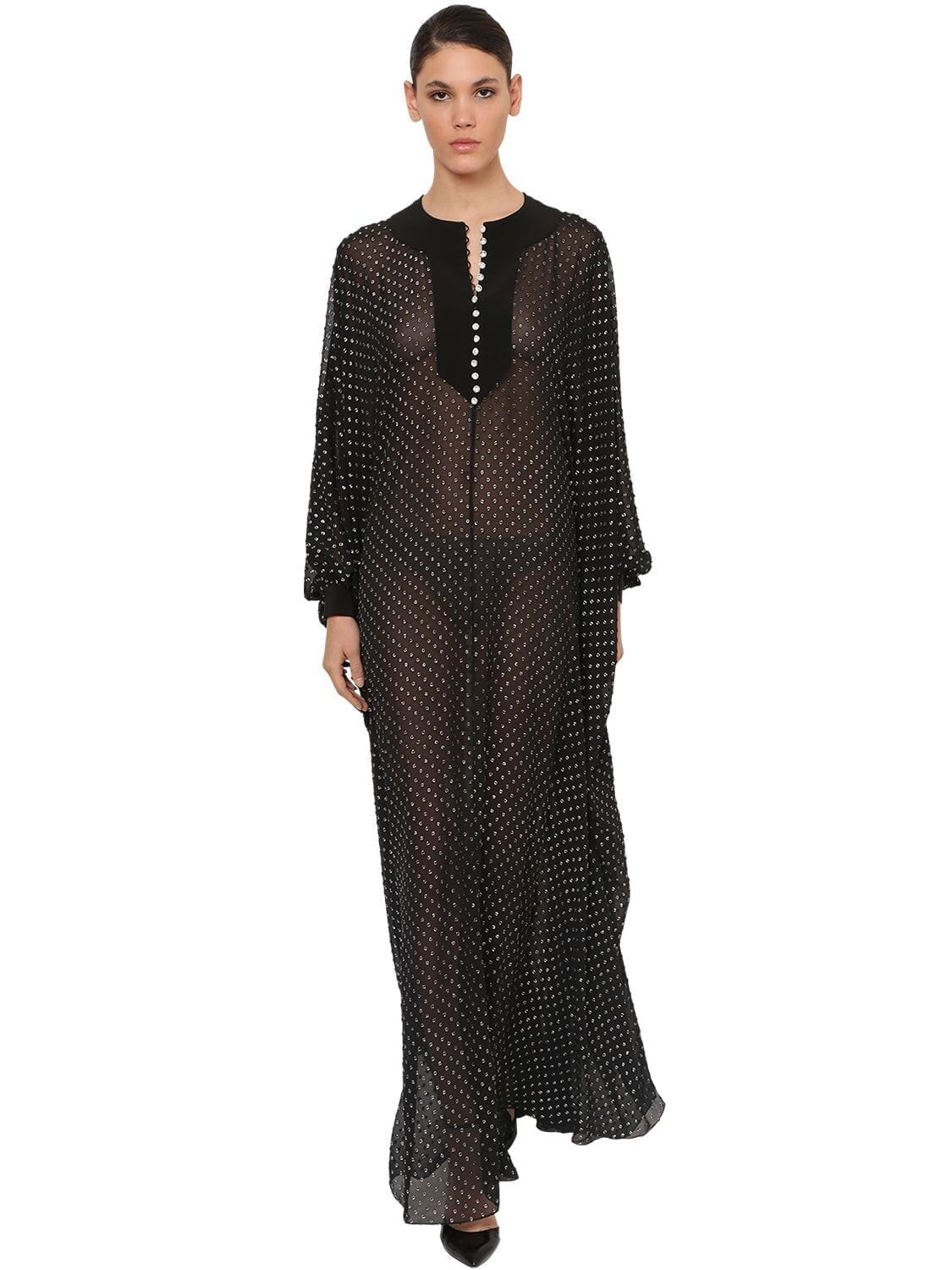 AZZARO Crystal Embellished Chiffon Maxi Dress
