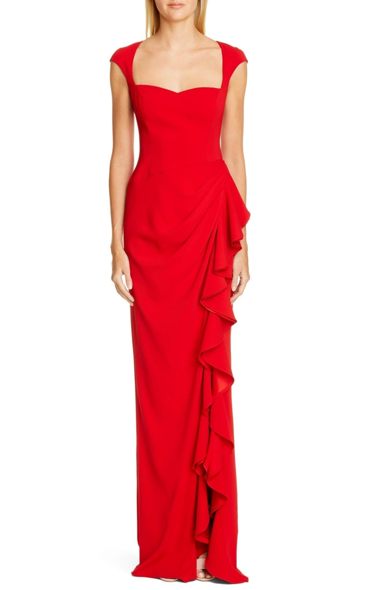 BADGLEY MISCHKA COLLECTION Badgley Mischka Cap Sleeve Ruffle Evening Dress