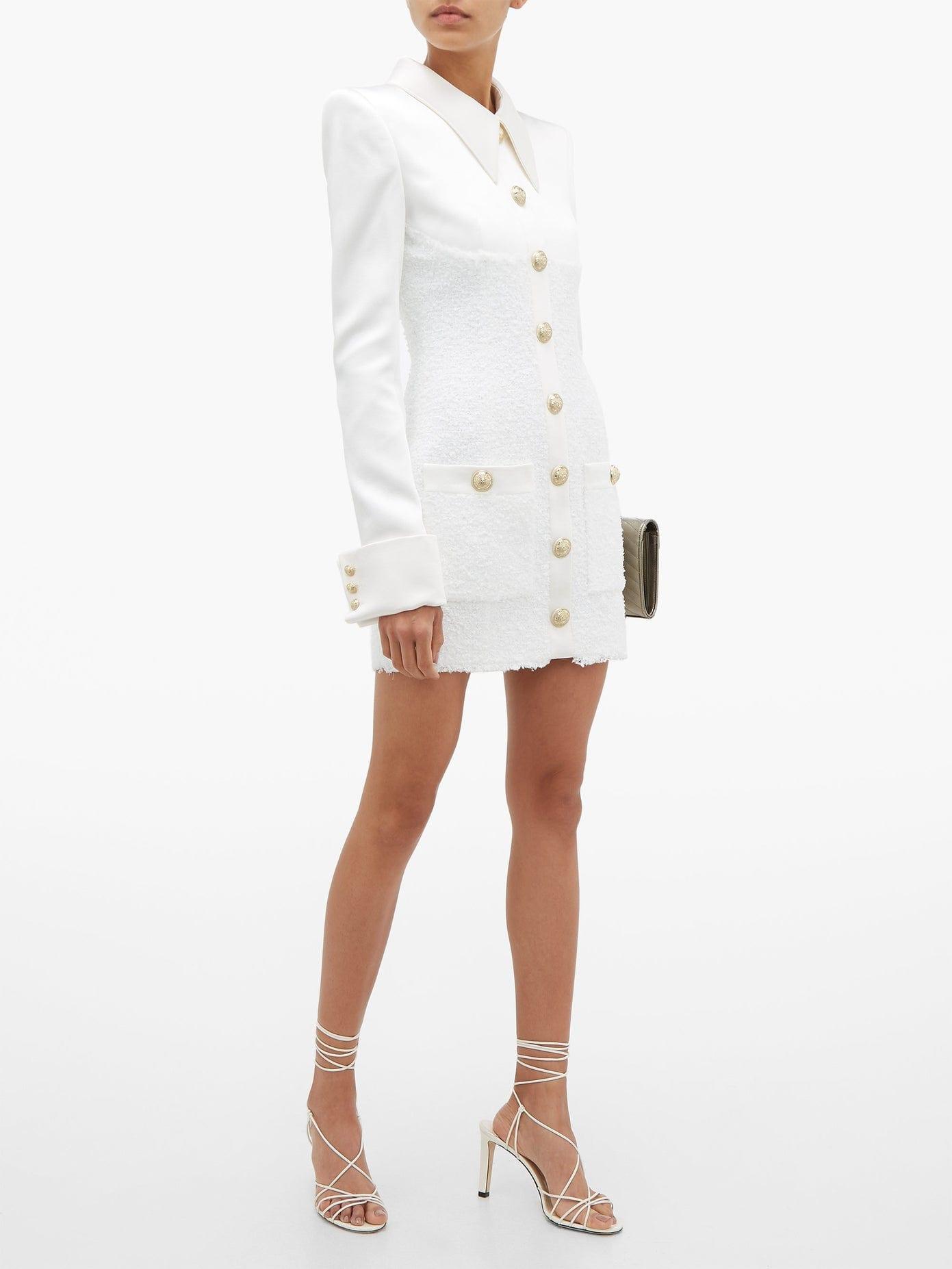 BALMAIN Buttoned Satin And Tweed Mini Dress