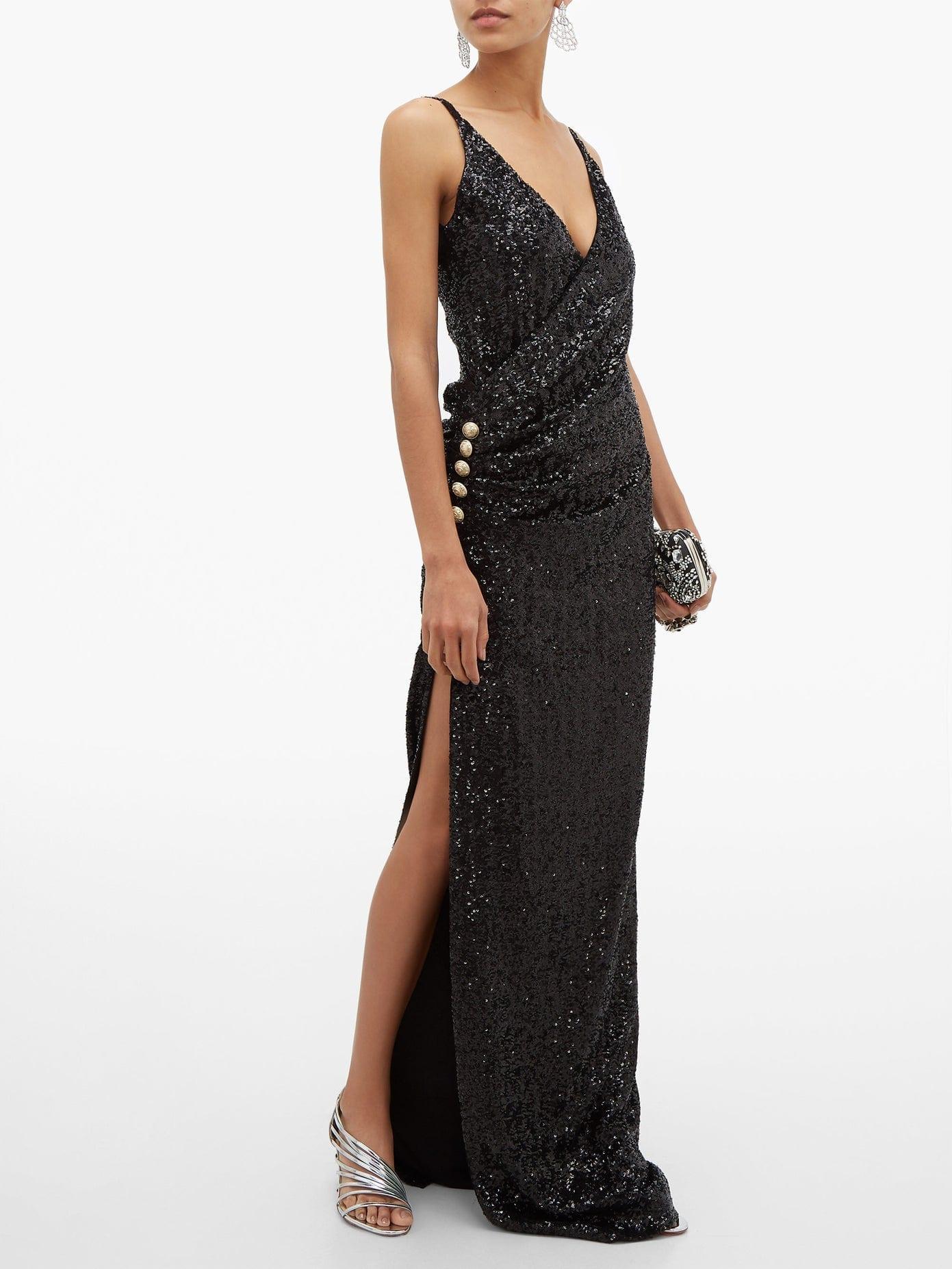 BALMAIN Sequinned Wrap-effect Gown