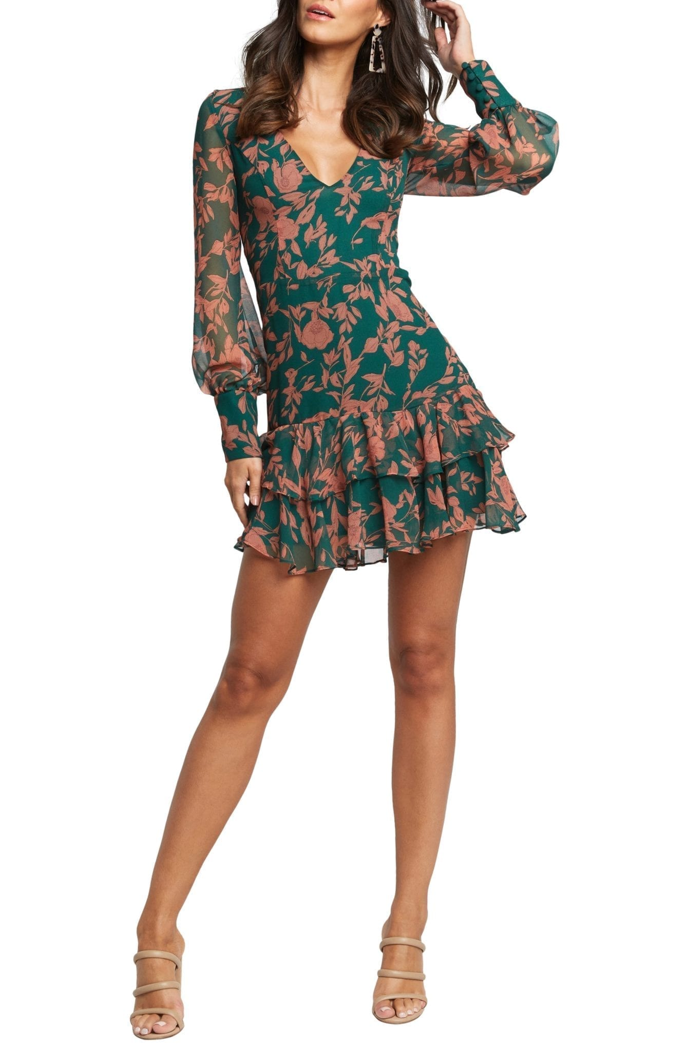BARDOT Madelyn Long Sleeve Floral Mini Dress
