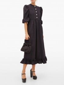 BATSHEVA Puff-sleeve Moiré Dress