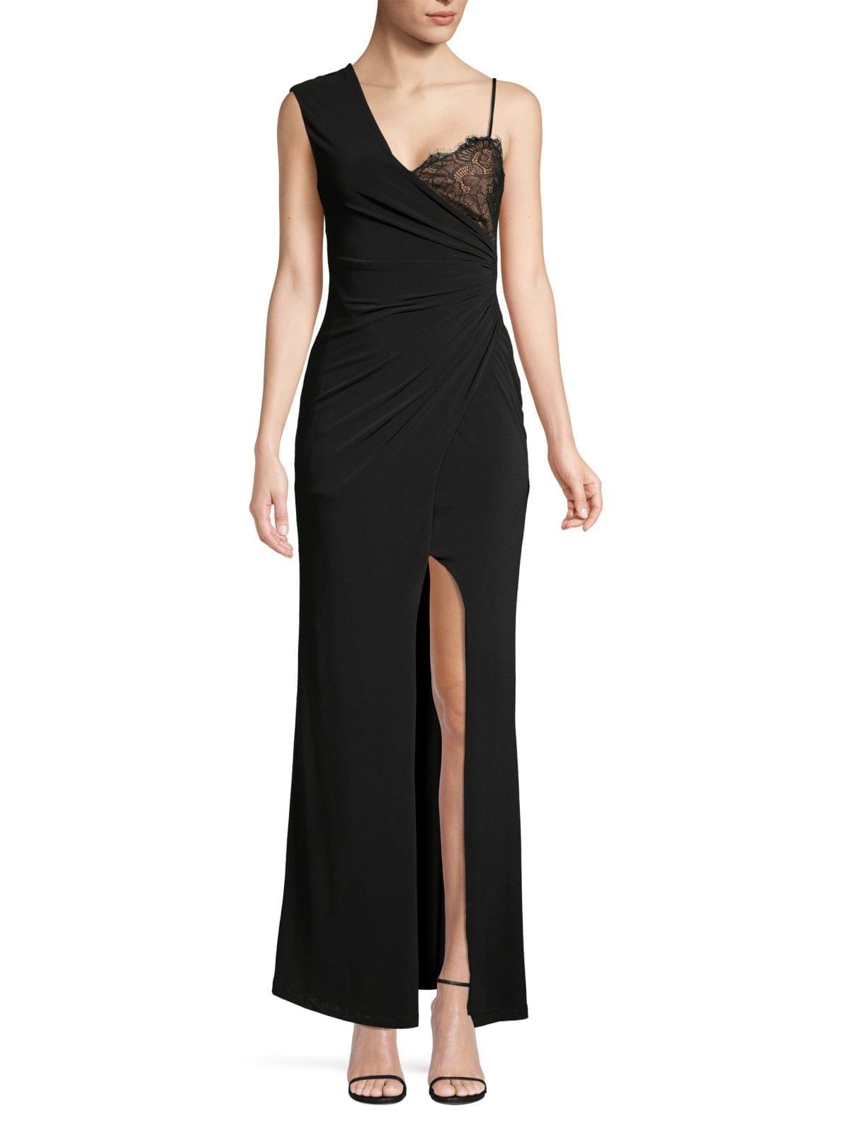 BCBGMAXAZRIA Asymmetric Ruched Lace Gown