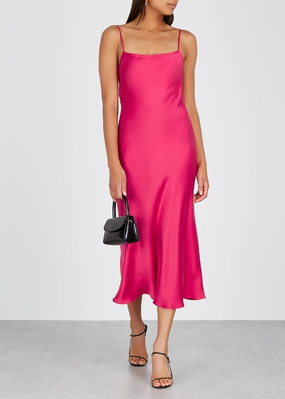 BEC & BRIDGE Classic Fuchsia Silk Midi Dress