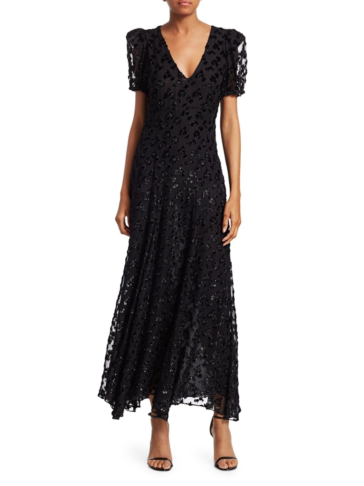 BLACK IRIS Daisy Sequin Leopard-Print Maxi Dress