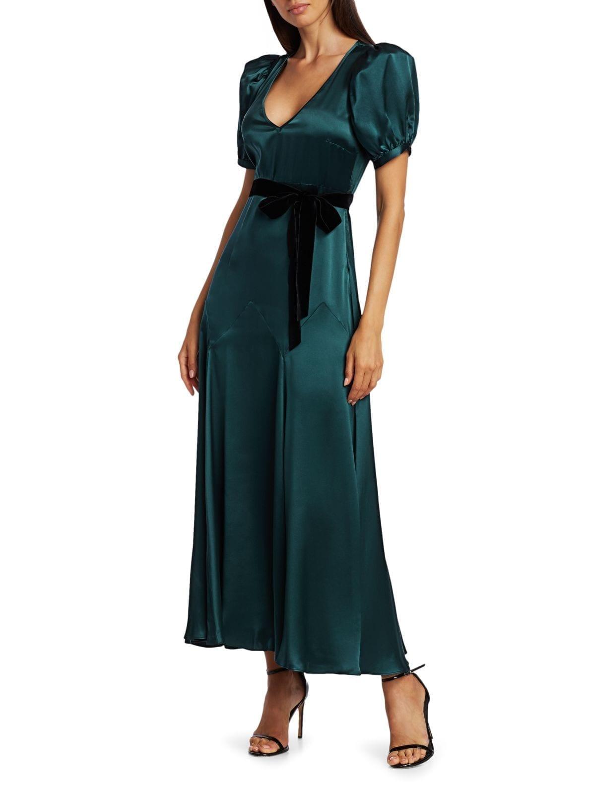 BLACK IRIS The Daisy Puff-Sleeve Silk A-Line Midi Dress