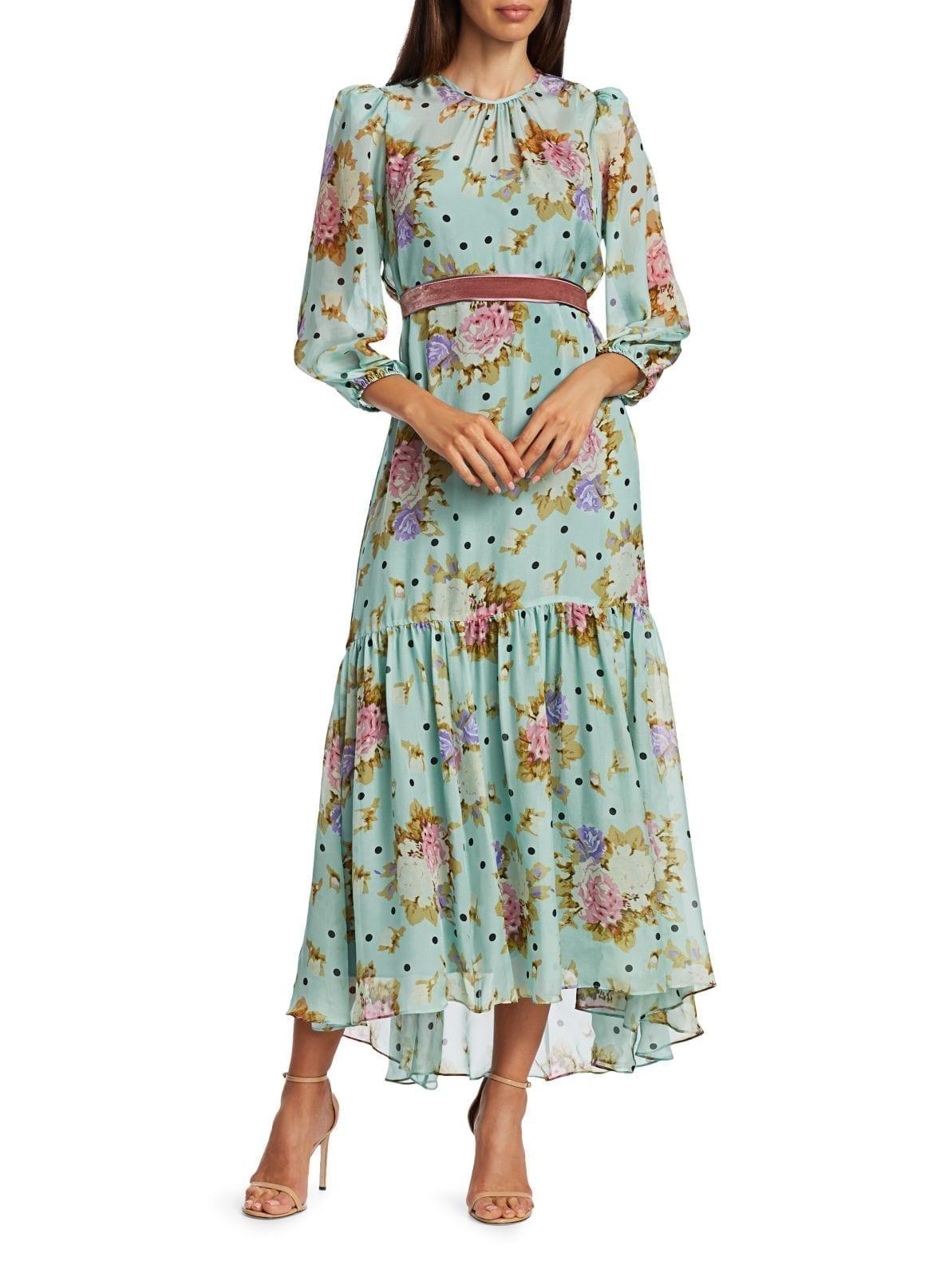 BLACK IRIS The Iris Dot Rose-print Silk A-line Midi Dress
