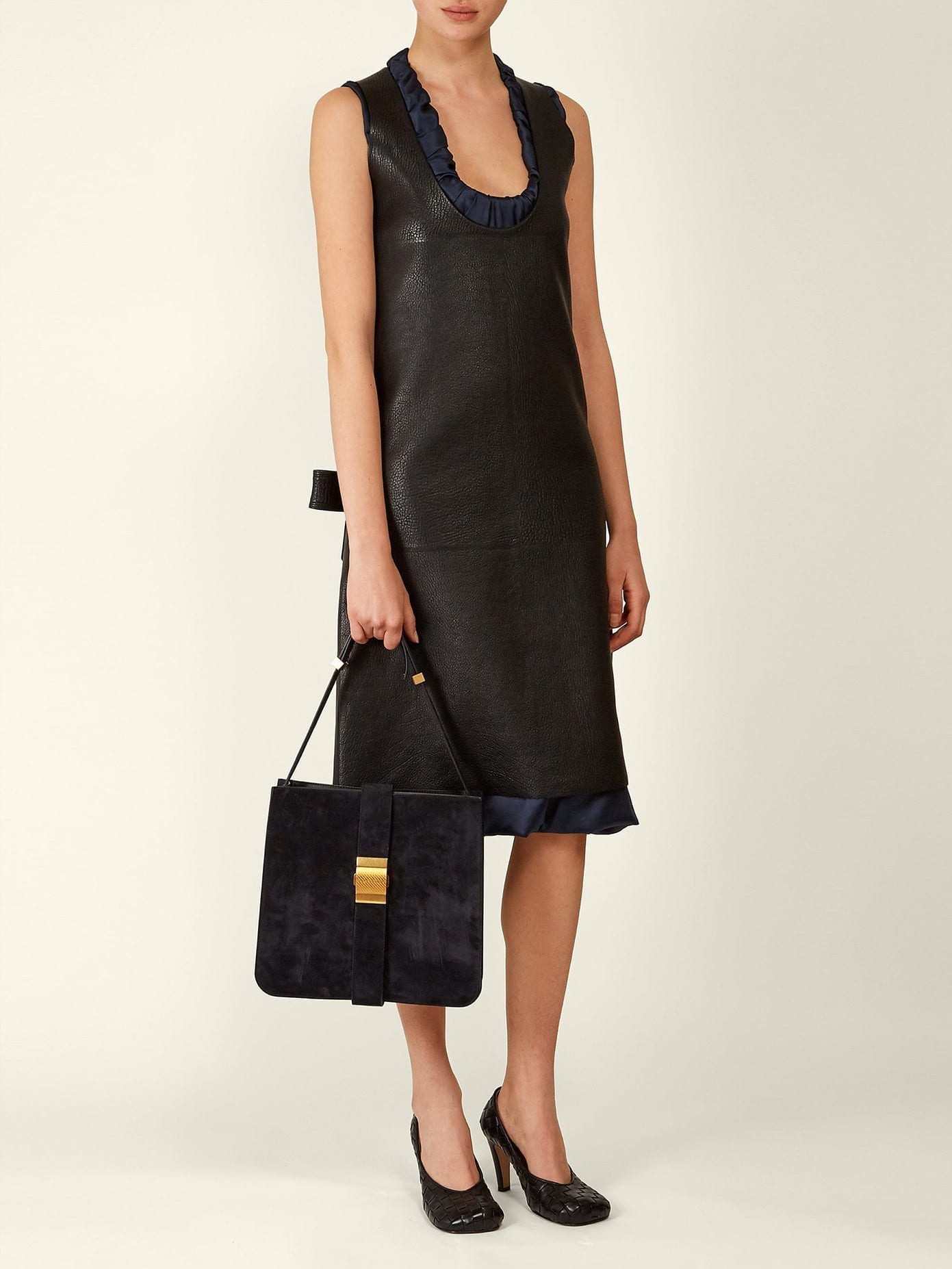 BOTTEGA VENETA Patch-pocket Leather Midi Dress