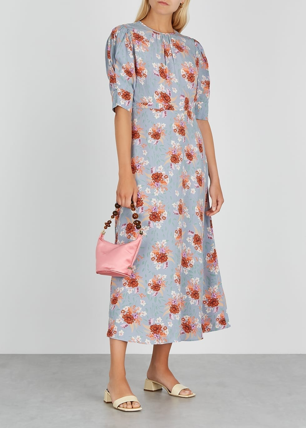 BYTIMO Lily Light Blue Floral-print Midi-Dress