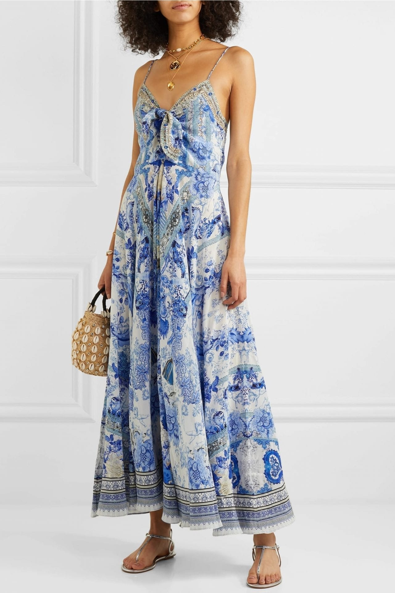 CAMILLA Knotted Embellished Printed Silk Crepe De Chine Maxi Dress
