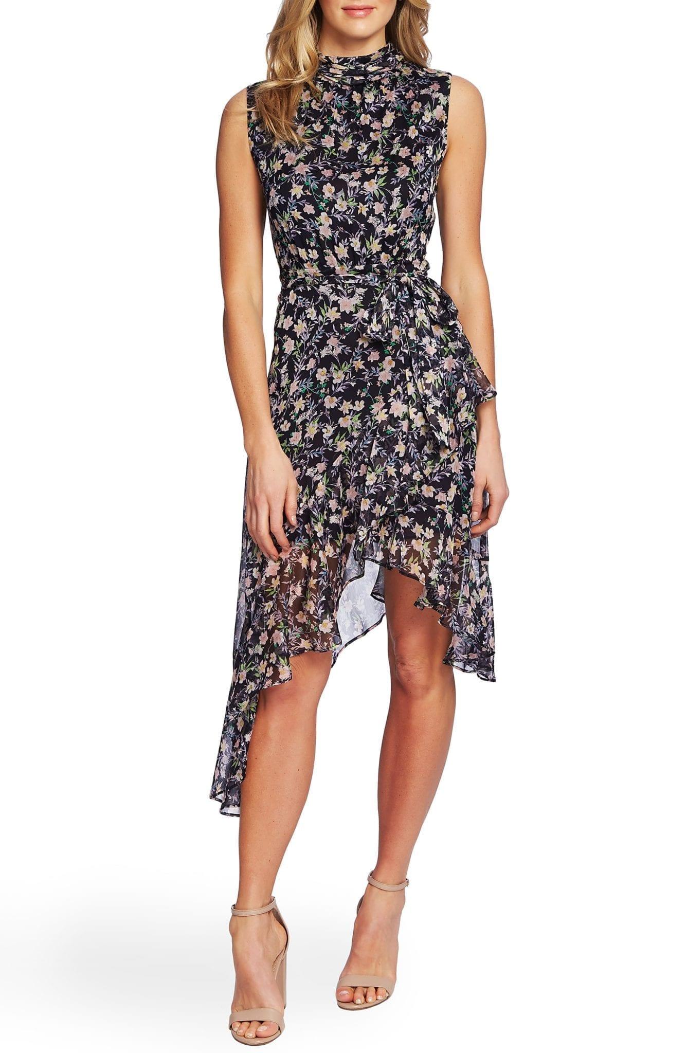 CECE Botanical Charm Cascading Ruffle Sleeveless Dress