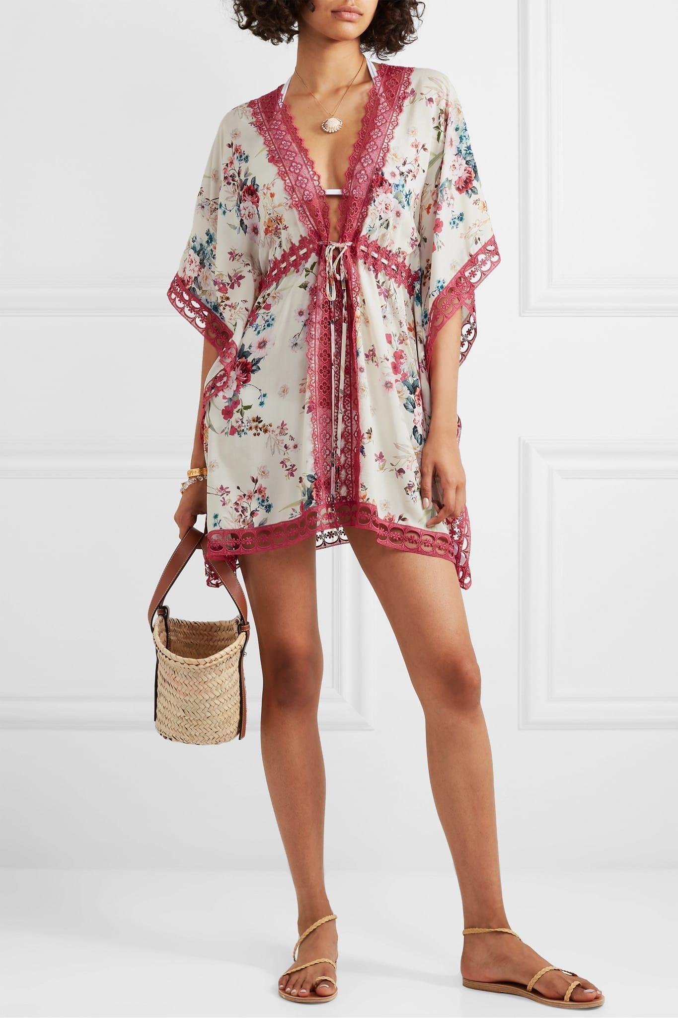 CHARO RUIZ Kayla Crocheted Lace And Floral-print Voile Kaftan Dress