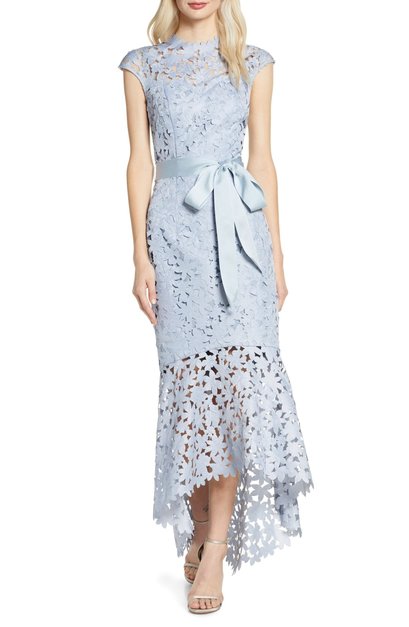 CHI CHI LONDON Willa High Low Laser Cut Lace Gown