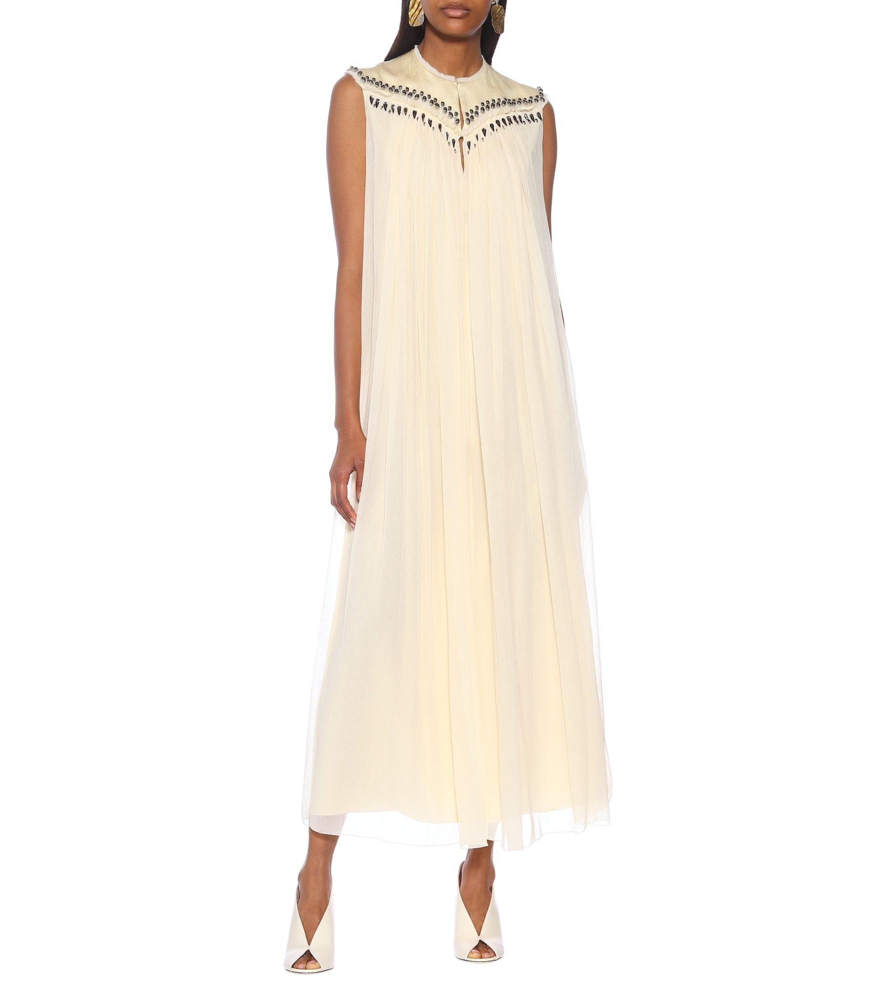 CHLOÉ Embellished Silk Midi Dress