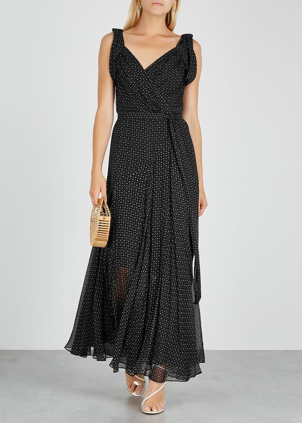 DIANE VON FURSTENBERG Belinda Black Printed Silk-chiffon Dress