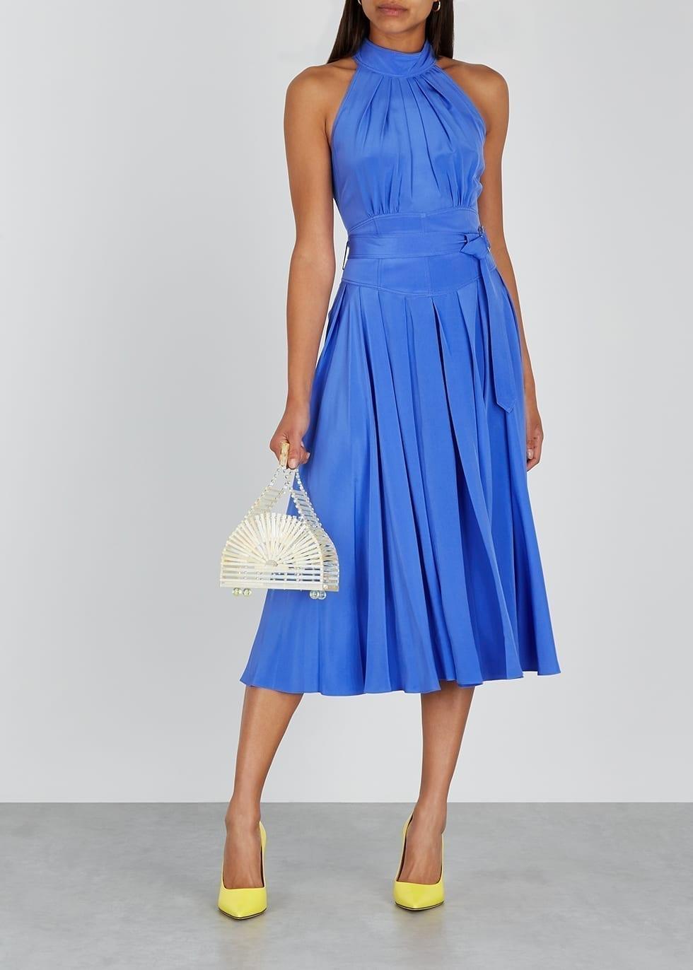 DIANE VON FURSTENBERG Nicola Blue Silk Midi Dress