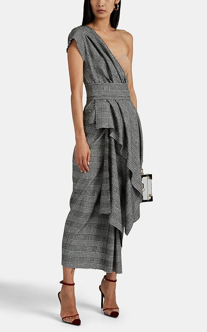 DOLCE & GABBANA Glen Plaid Asymmetric Dress