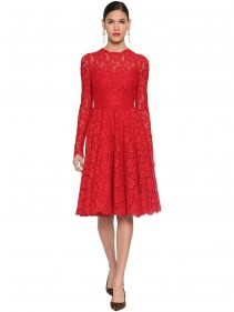 DOLCE & GABBANA Lace Round Skirt Midi Dress