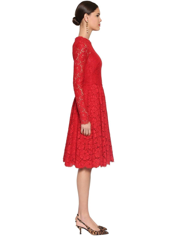 DOLCE & GABBANA Lace Round Skirt Midi Dress